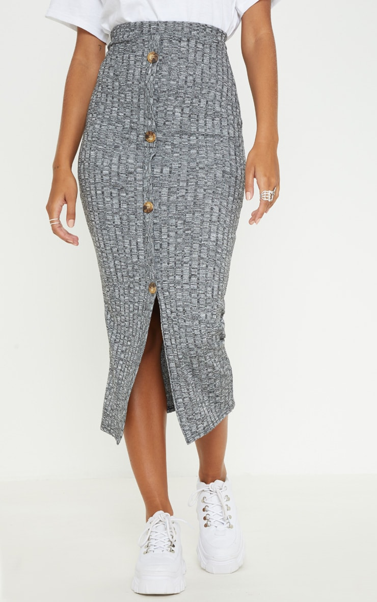 Grey Marl Textured Rib Button Front Midaxi Skirt 2
