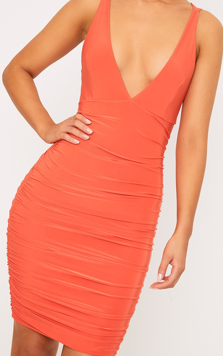 Agness Coral Cross Back Ruched Bodycon Dress 5