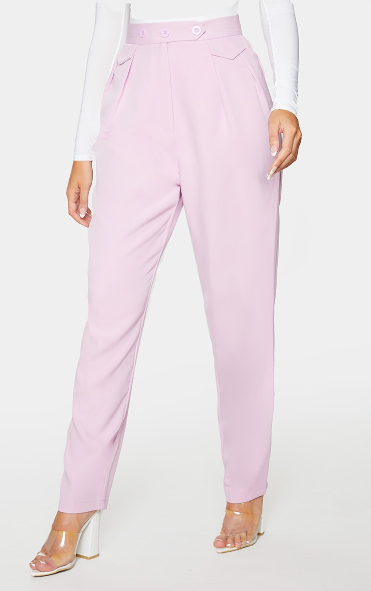 Lilac Tapered Button Front Pants 2