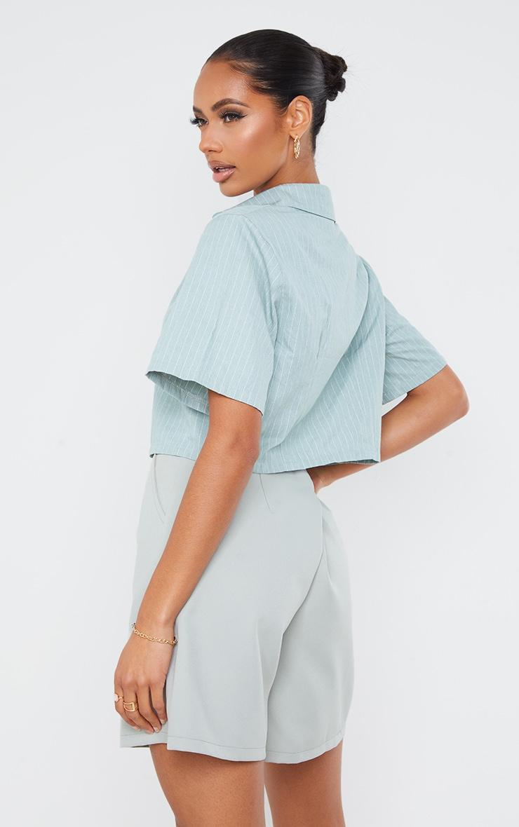 Sage Green Pinstripe Linen Feel Short Sleeve Crop Shirt 2