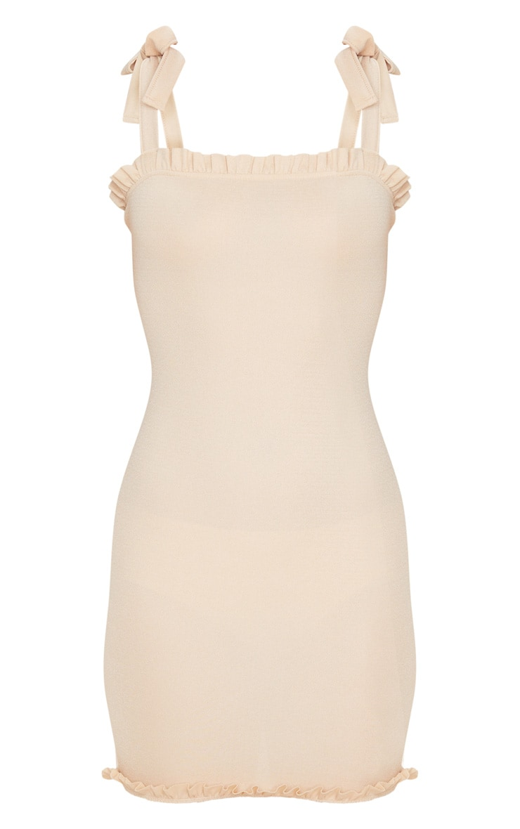 Taupe Tie Shoulder Frill Detail Bodycon Dress 3