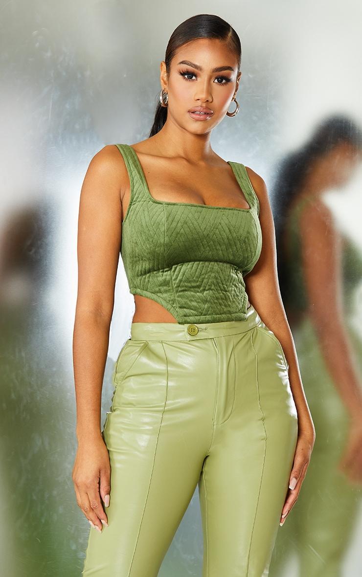 Green Embossed Velvet Crop Top 1