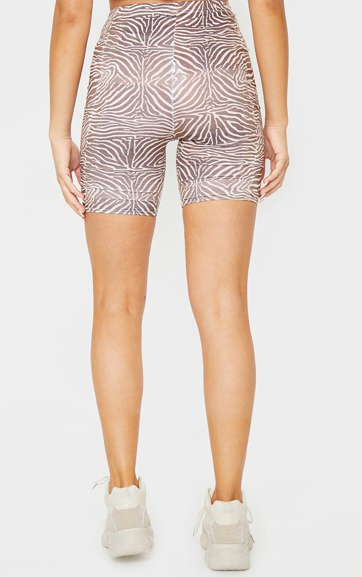 Brown Zebra Print Cycle Shorts 3