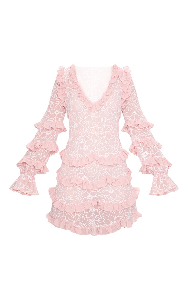 Peach Embroidered Chiffon Frill Shift Dress 5