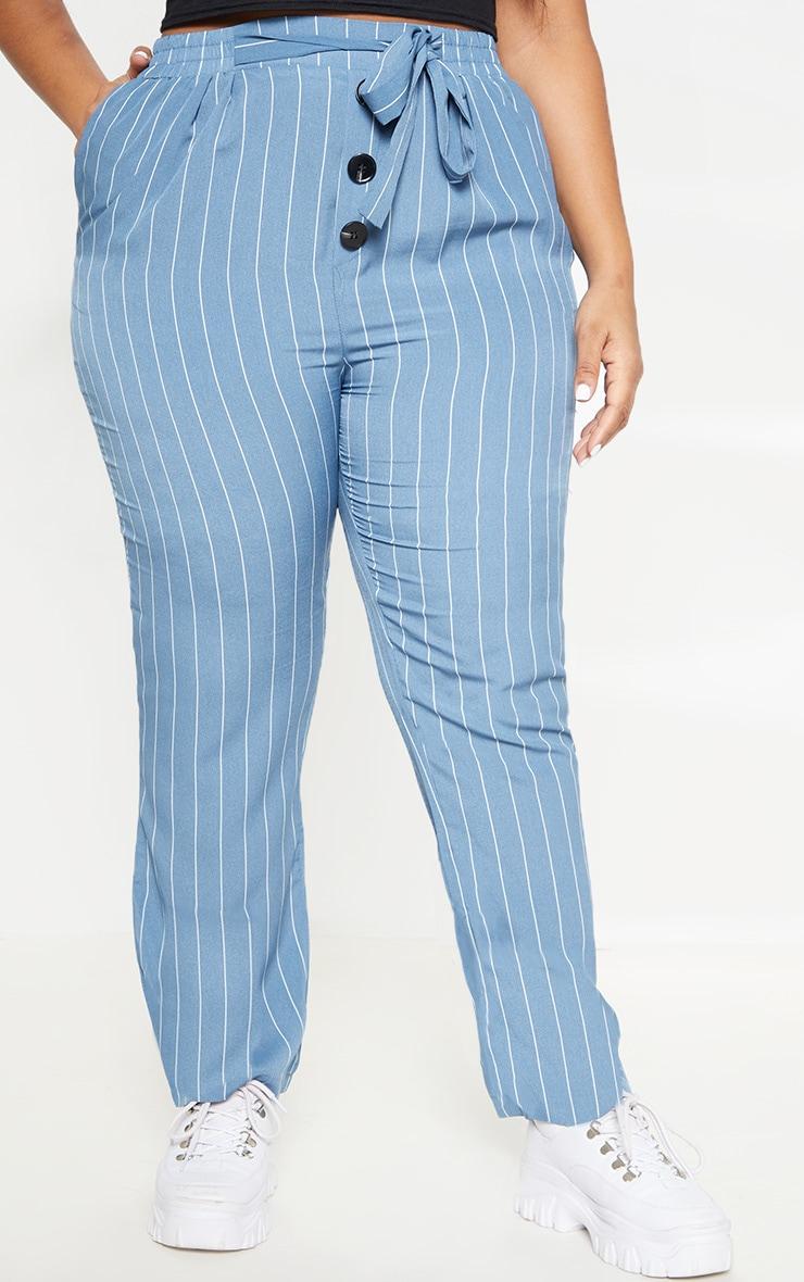 Plus Dusty Blue Pinstripe Button Detail Casual Pants 2