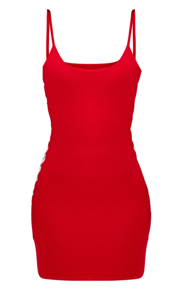 PRETTYLITTLETHING Shape Red Band Cami Dress 3