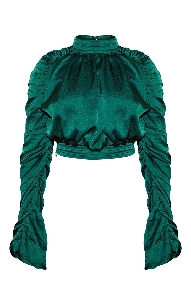Green Satin Ruched Sleeve Crop Top 3