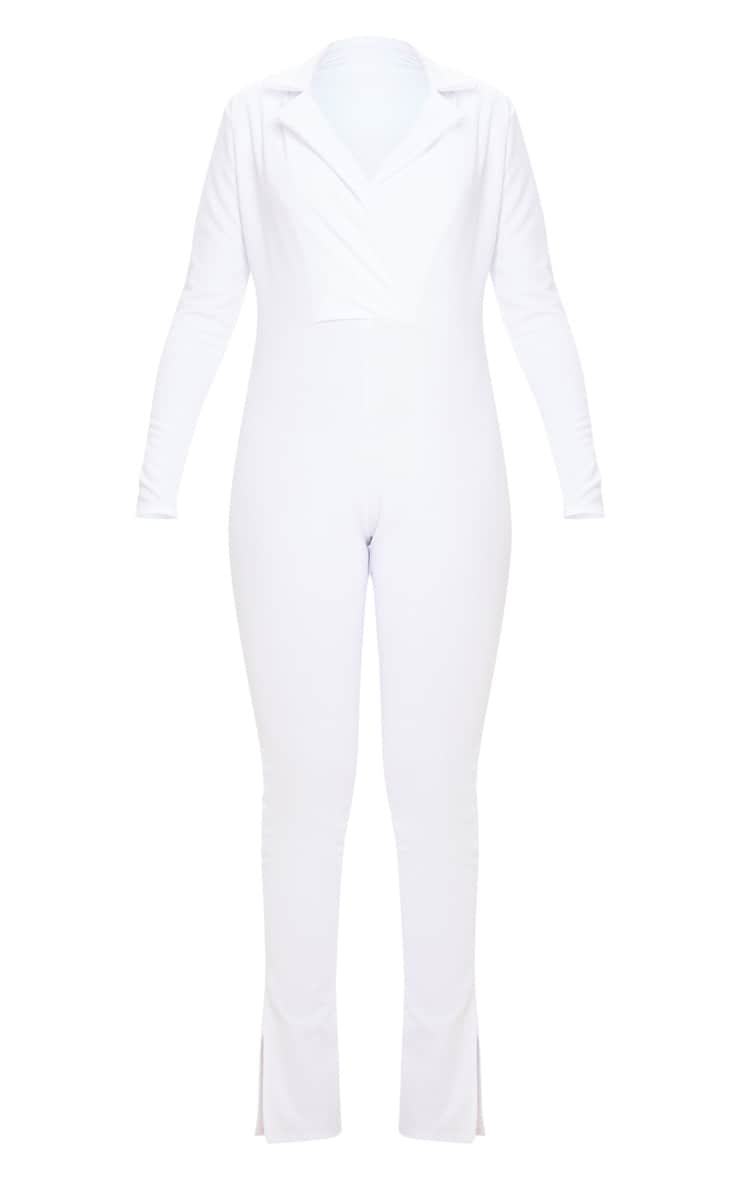 White Lapel Detail Tailored Jumpsuit 3