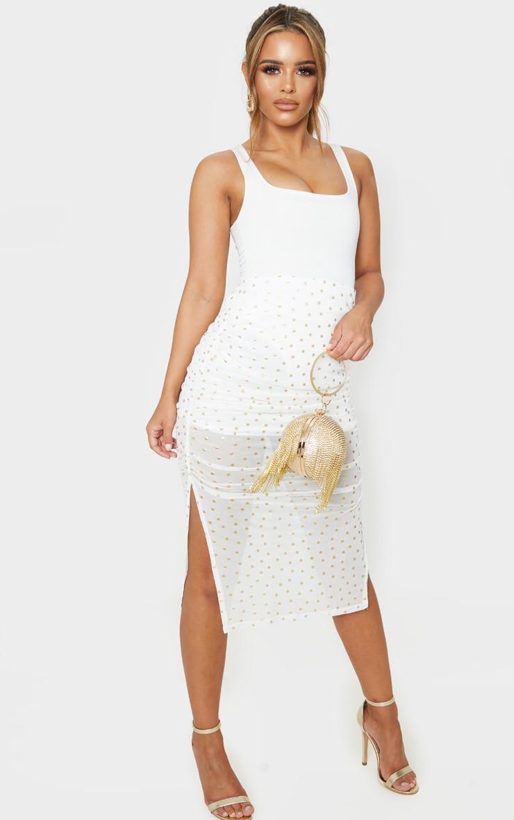 Petite Cream Polka Dot Ruched Side Midi Skirt 1