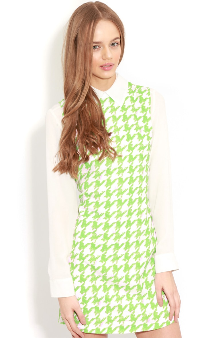 Ayla Green Dogtooth Shift Dress 4