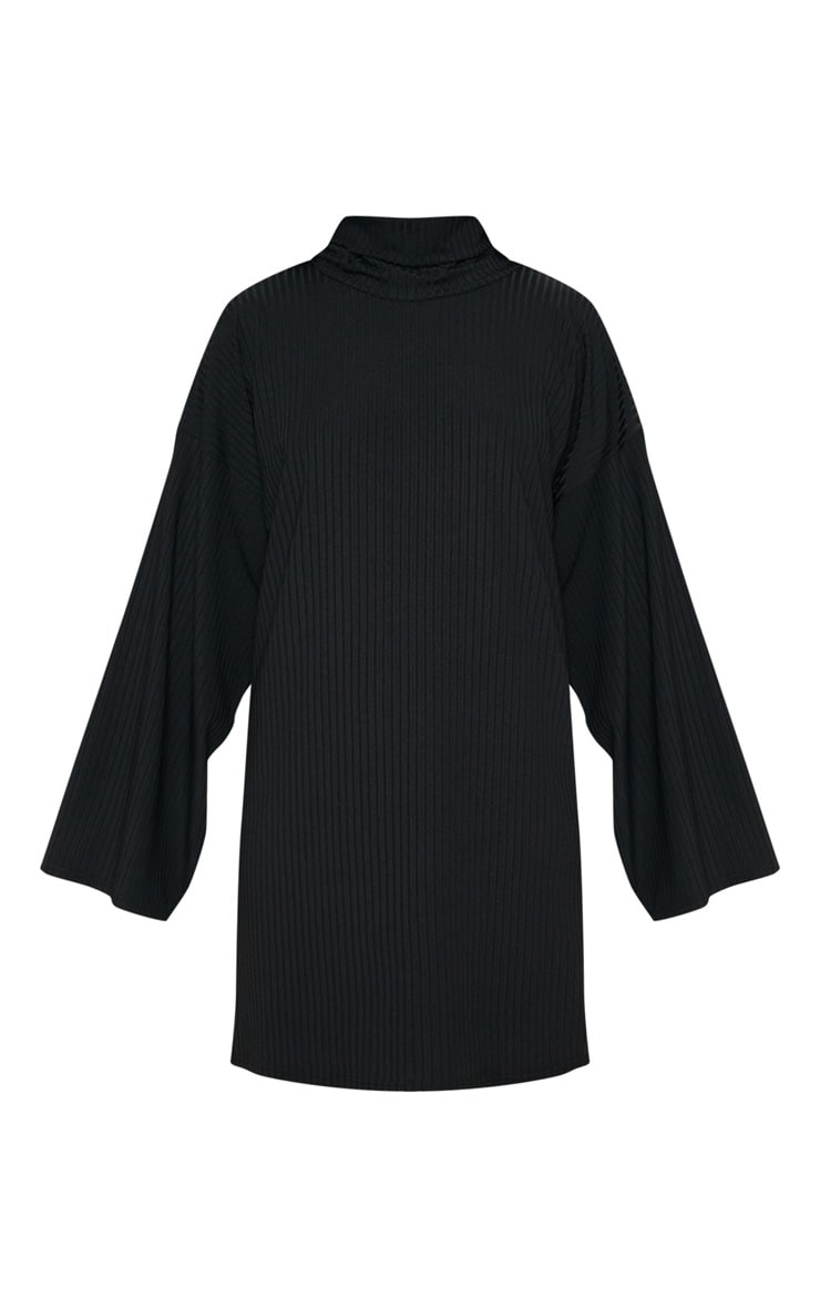 Black Wide Rib High Neck Oversized Jumper Dress 3