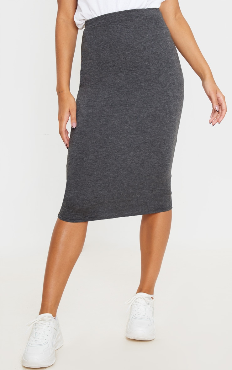 Charcoal Ultimate Jersey Longline Midi Skirt 2