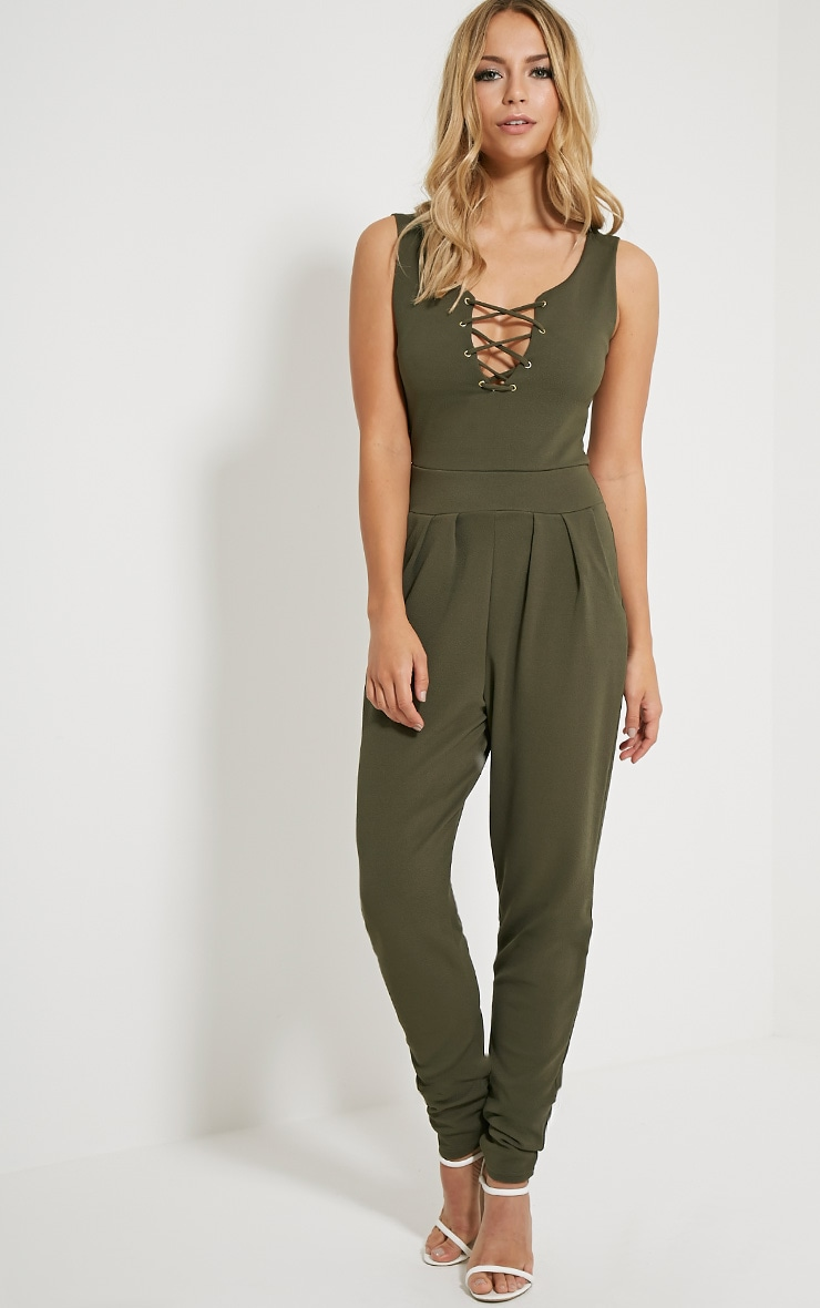 Remi Khaki Lace Up Crepe Jumpsuit 3