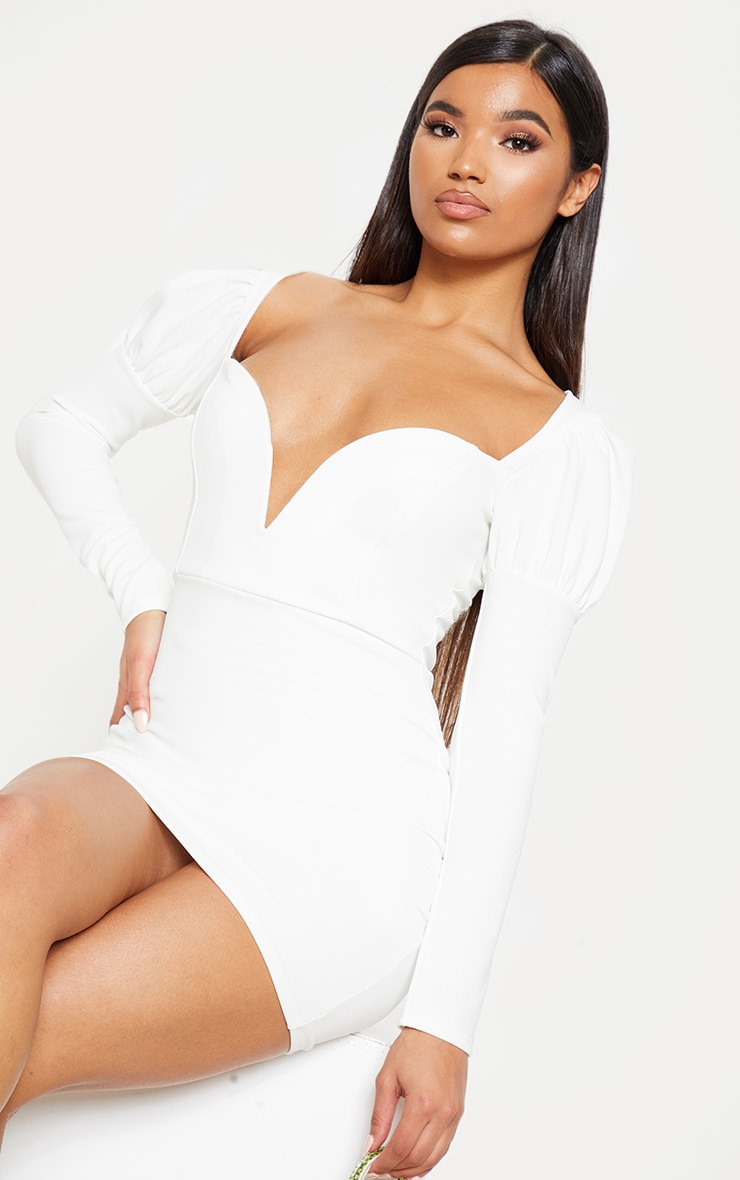 White Puff Shoulder Deep Plunge Bodycon Dress 5