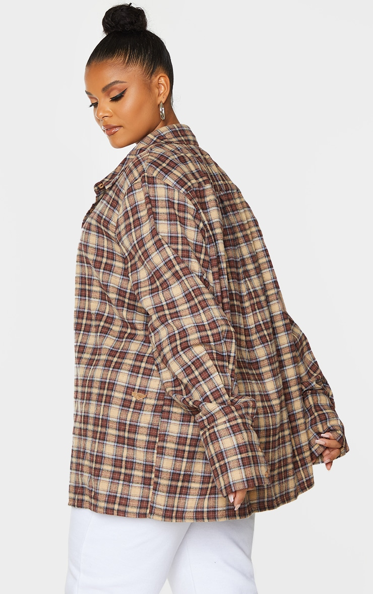 Plus Brown Checked Oversized Shirt 2