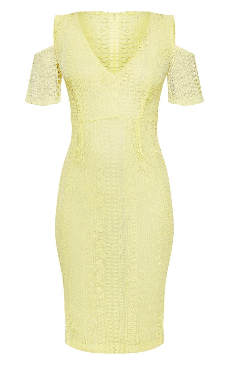 Lemon Lace Cold Shoulder Midi Dress 3