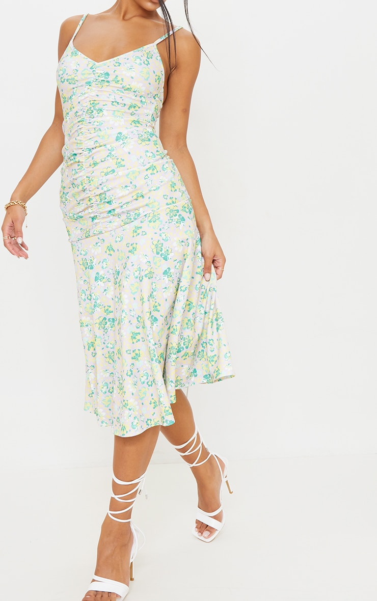 Lilac Floral Print Strappy Ruched Flare Hem Midi Dress 4