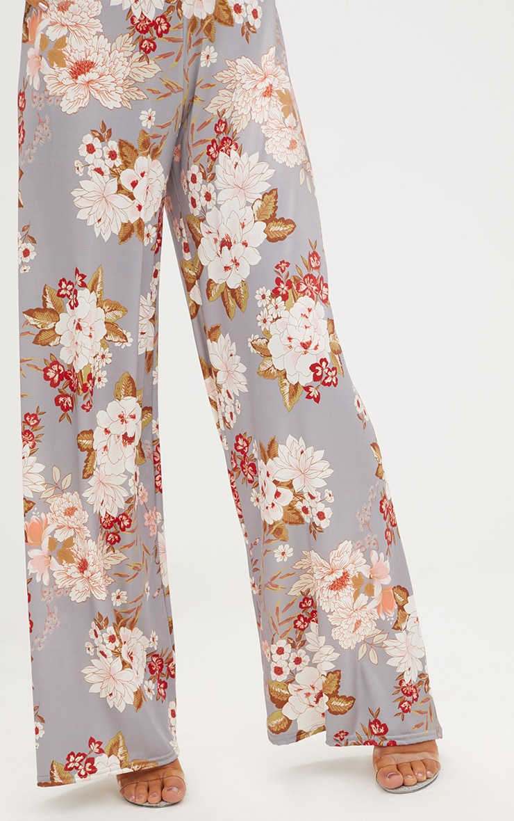 Grey Floral Print Slinky Wide Leg Trousers 5
