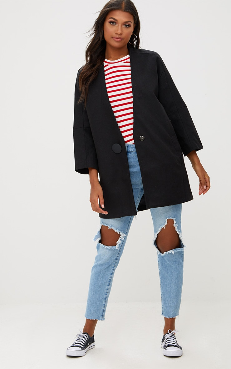 Black Mid Length Button Coat 1