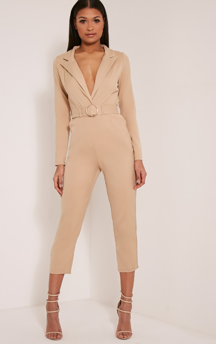 Mell Taupe Wrap Buckle Crop Jumpsuit 1