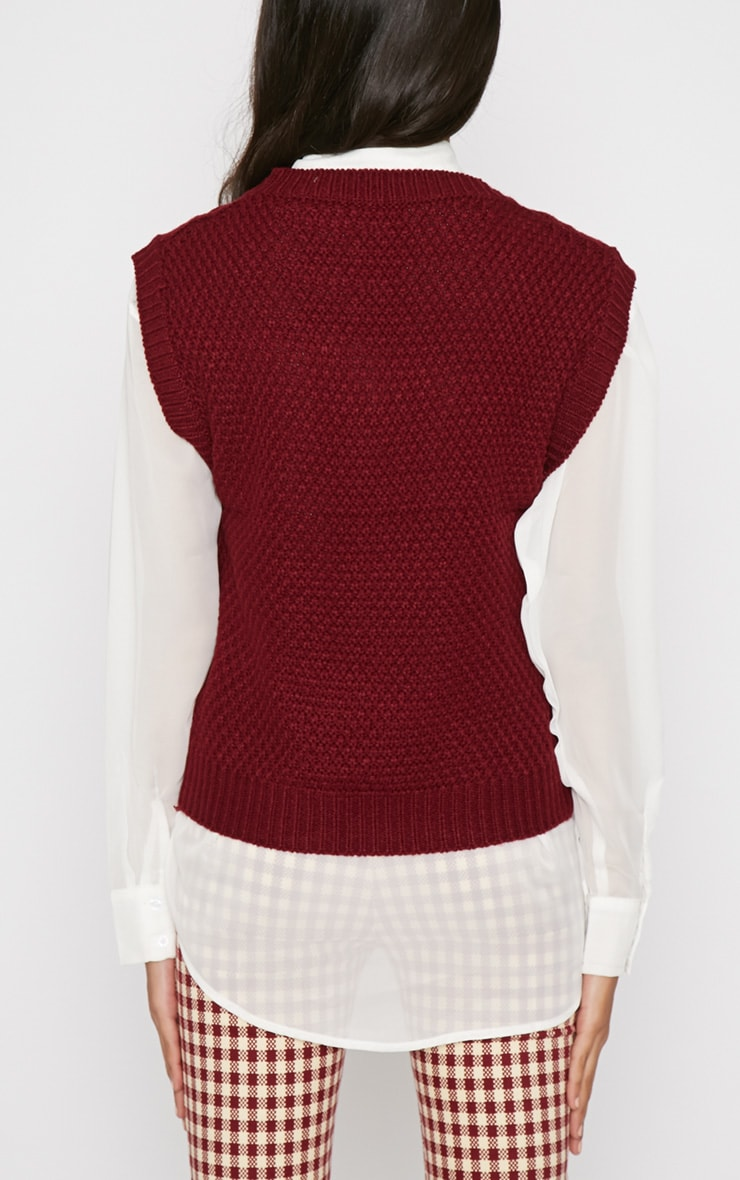 Cher Maroon Knitted Sleeveless Jumper  2