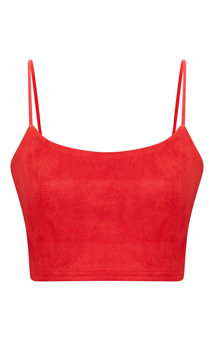Red Faux Suede Crop Top 3