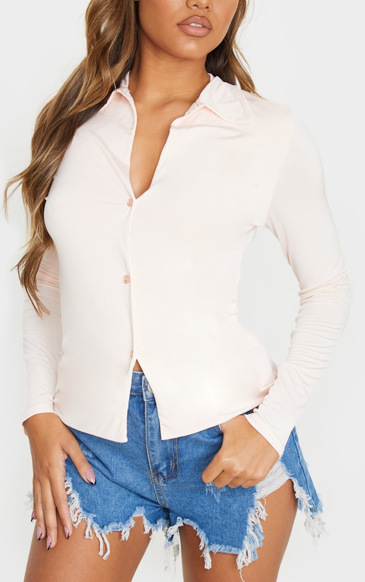 Chemise manches longues slinky nude 4