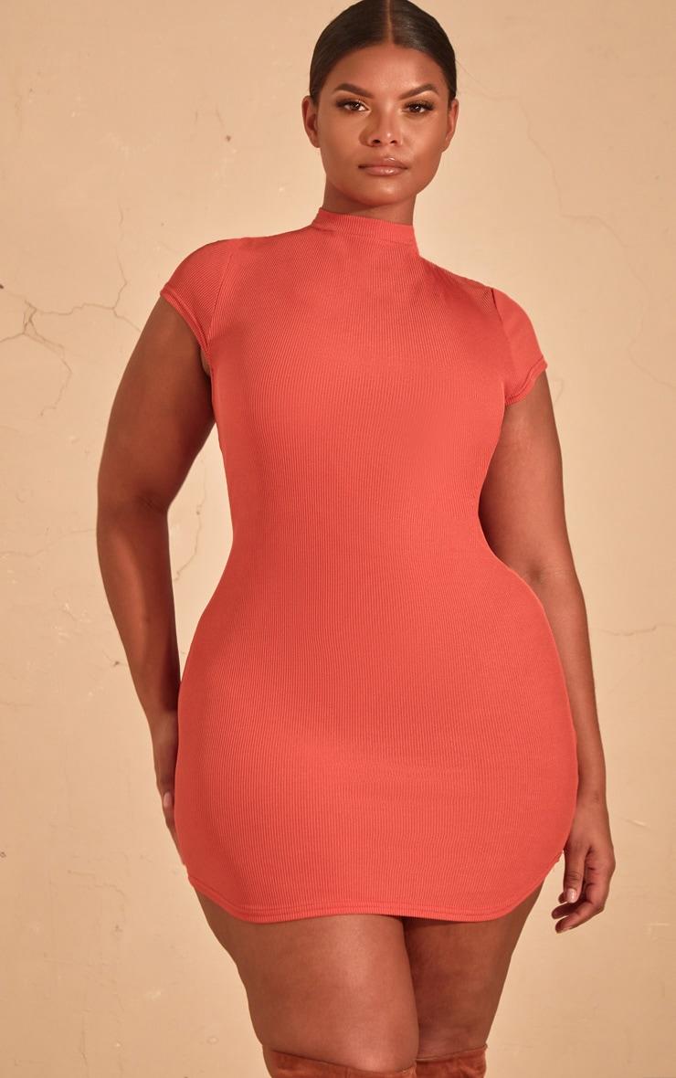 Plus Auburn Ribbed High neck Bodycon dress  4