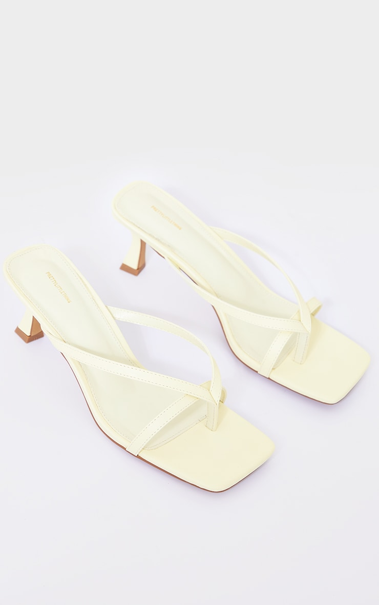 Lemon Pu Square Toe Thong Strap Low Heeled Mule Sandals 4