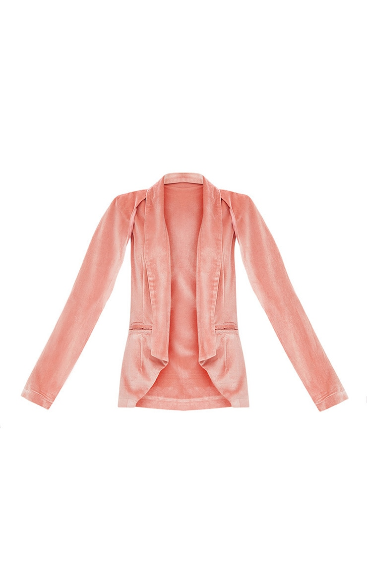 Blazer cape en velours rose 3