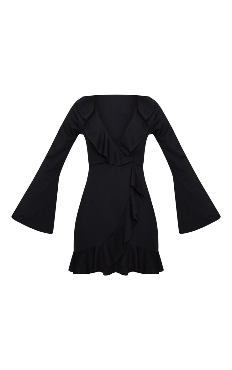 Black Frill Detail Flare Sleeve Wrap Dress 3