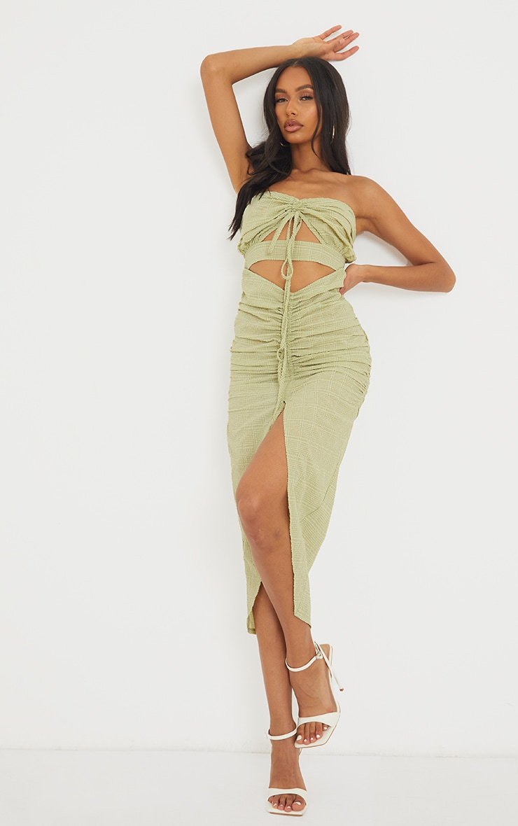 Green Textured Bandeau Cut Out Ruched Midi Dress 1