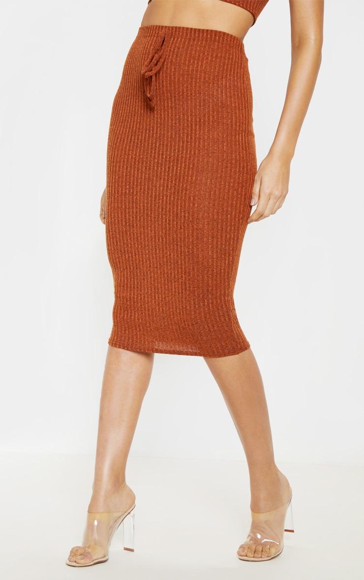Orange Knitted Ribbed Midi Skirt  2
