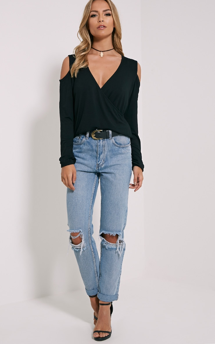 Tarny Black Open Shoulder Wrap Top 3
