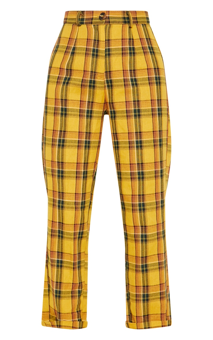 Yellow Check Turn Up Hem Trouser 4
