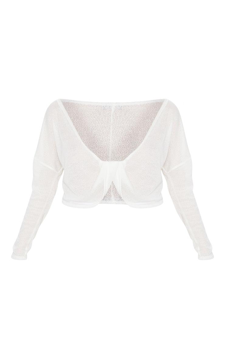 Cream Lightweight Knit Twist Front Crop Top 3