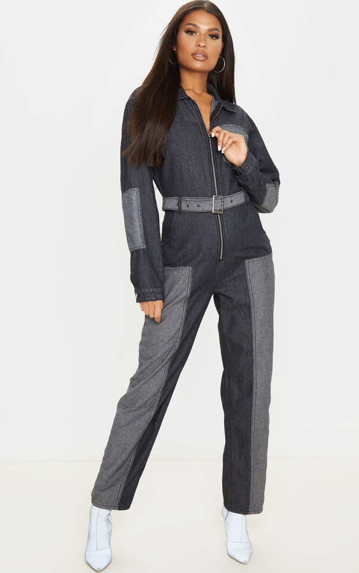 Charcoal Grey Two Tone Oversized Belted Denim Boilersuit 1