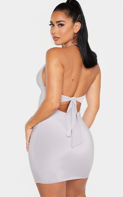 Shape Grey Slinky Ring Detail Halterneck Dress