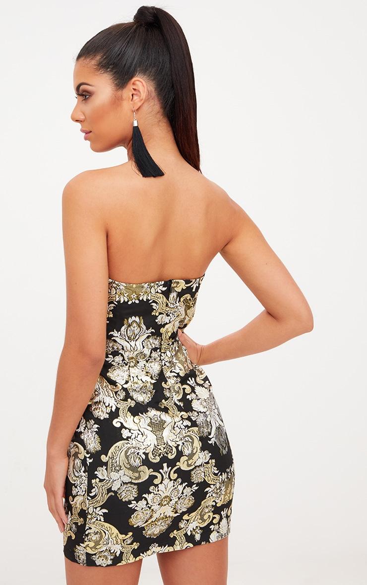 Black Oriental Bandeau Bodycon Dress 2