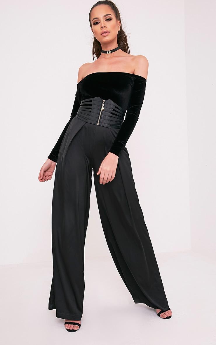 Willa body-string bardot noir en velours à manches longues 6