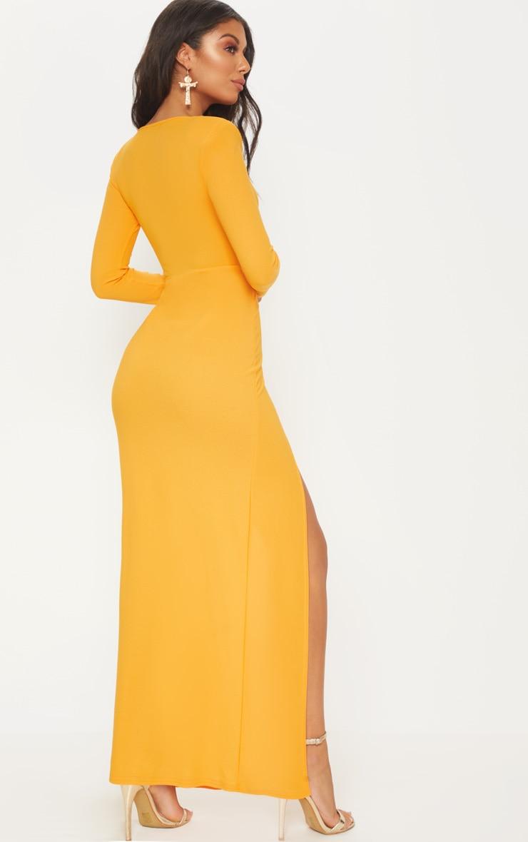 Papaya Shoulder Pad Extreme Split Maxi Dress 2