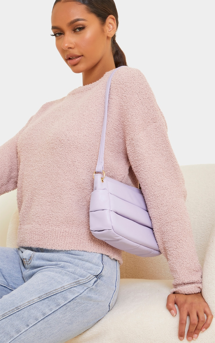 Lilac Padded Shoulder Bag 2