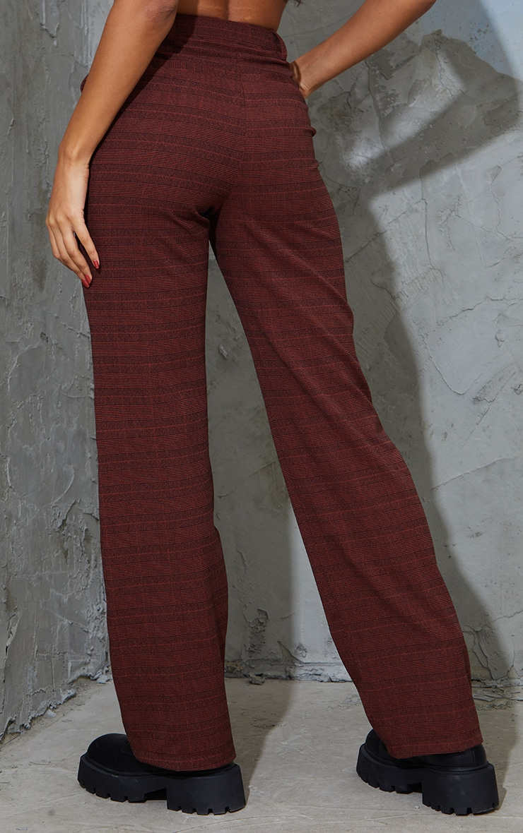 Chocolate Brushed Check Pintuck Detail Straight Leg Pants 3