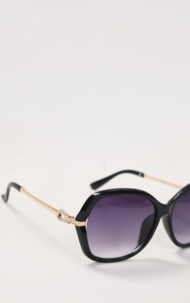 Black Diamante Buckle Detail Oversized Sunglasses 1