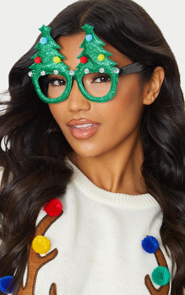 Green Christmas Tree Glasses 1