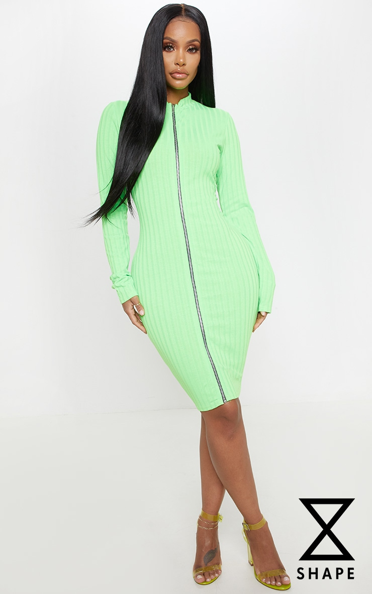 Shape Neon Lime Ribbed Zip Front Bodycon Dress by Prettylittlething