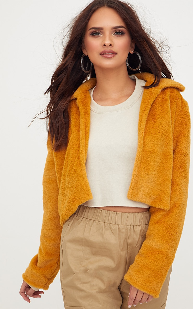 Mustard Cropped Faux Fur Coat 4