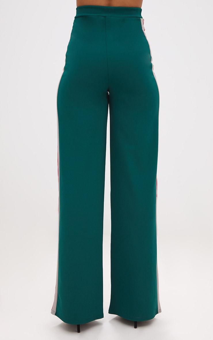 Emerald Green Sport Side Stripe Wide Leg Trousers 4