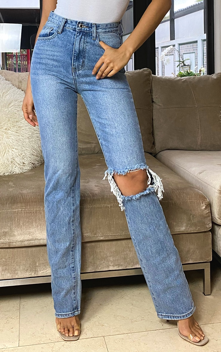Tall Light Blue Wash Open Knee Leg Straight Jean 2