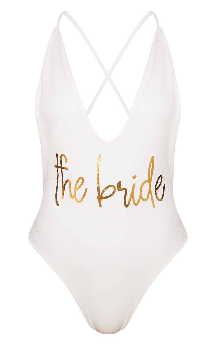 White The Bride Plunge Swimsuit 7